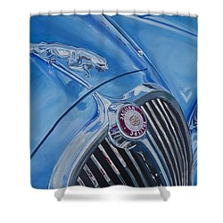 Vintage Blue Jag Shower Curtain
