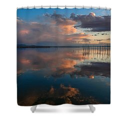 Blue Lagoon. Valencia Shower Curtain