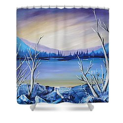 Blue Lake Shower Curtain by Beverly Livingstone