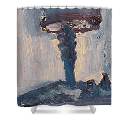 Blue Lamp Shower Curtain