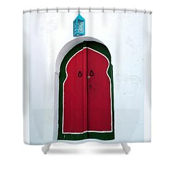 Blue Lantern Over Red Door Shower Curtain