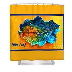Blue Leaf Ceramic Design Shower Curtain by Joan-Violet Stretch