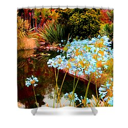 Blue Lily Water Garden Shower Curtain by Amy Vangsgard
