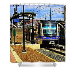 Shower Curtain featuring the photograph Blue Line by Rodney Lee Williams
