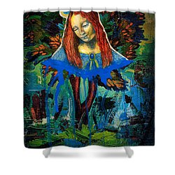 Blue Madonna In Tree Shower Curtain by Genevieve Esson