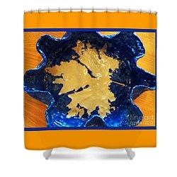 Blue Maple Leaf Dish Shower Curtain by Joan-Violet Stretch