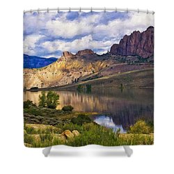 Blue Mesa Reservoir Digital Painting Shower Curtain