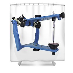 Blue Metallic Articulator Used Shower Curtain by Elena Duvernay