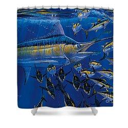 Blue Millennium Shower Curtain by Carey Chen