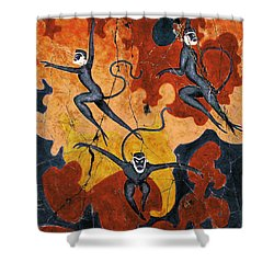 Blue Monkeys No. 8 - Study No. 1 Shower Curtain by Steve Bogdanoff
