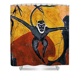 Blue Monkeys No. 8 - Study No. 3 Shower Curtain