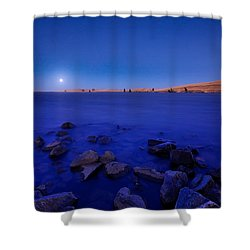 Blue Moon On The Rocks Shower Curtain