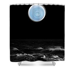 Blue Moon Over The Sea Shower Curtain