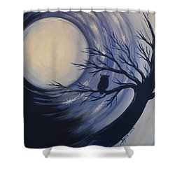 Blue Moon Vortex With Owl Shower Curtain