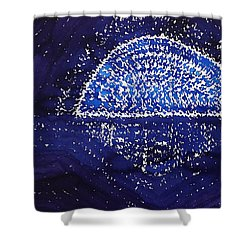 Blue Moonrise Original Painting Shower Curtain