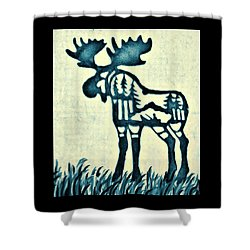 Shower Curtain featuring the pyrography Blue Moose by Larry Campbell