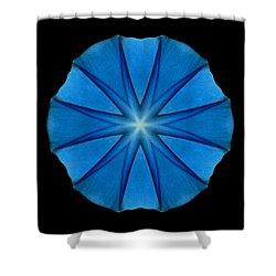 Blue Morning Glory Flower Mandala Shower Curtain by David J Bookbinder
