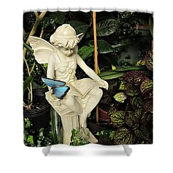 Blue Morpho On Statue Shower Curtain by MTBobbins Photography