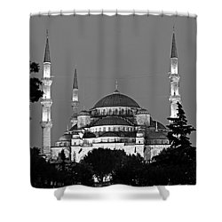 Blue Mosque In Black And White Shower Curtain by Stephen Stookey