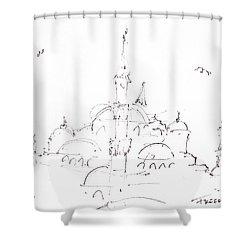 Blue Mosque Shower Curtain by Valerie Freeman