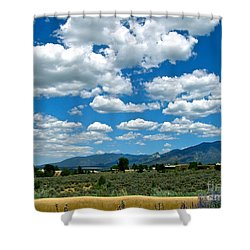Blue Mountain Skies Shower Curtain