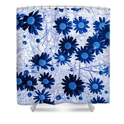 Shower Curtain featuring the digital art Blue Mystical Daisies  by Sandra Foster