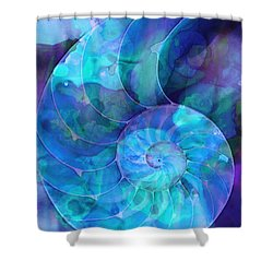 Blue Nautilus Shell By Sharon Cummings Shower Curtain