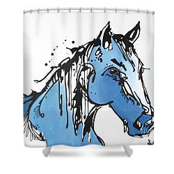 Shower Curtain featuring the painting Blue by Nicole Gaitan