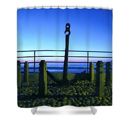Shower Curtain featuring the photograph Blue Sunset At Anchor by John King