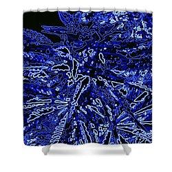 Blue On Black Cannabis Bud Shower Curtain