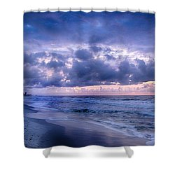 Blue Orange Beach Shower Curtain by Michael Thomas