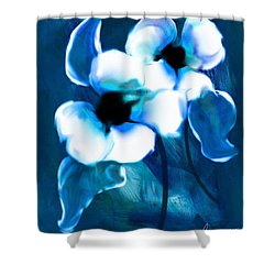 Shower Curtain featuring the digital art Blue Orchids  by Frank Bright