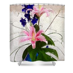 Shower Curtain featuring the digital art Blue Orchids In Vase by Anthony Fishburne