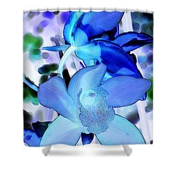Blue Orchids Shower Curtain by Kathleen Struckle