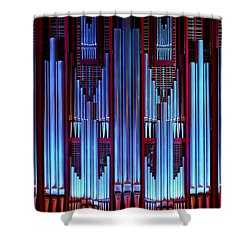 Blue Organ Pipes Shower Curtain