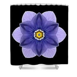 Blue Pansy I Flower Mandala Shower Curtain