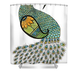Blue Peacock Shower Curtain by Billinda Brandli DeVillez
