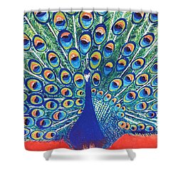 Shower Curtain featuring the painting Blue Peacock by Jasna Gopic