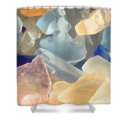 Blue Pink Orange Seaglass Beach Garden Shower Curtain by Baslee Troutman