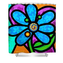 Blue Pinwheel Daisy Shower Curtain