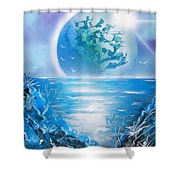 Blue Moon Shower Curtain by Greg Moores