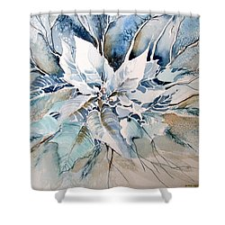 Blue Poinsettia Shower Curtain