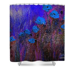Blue Poppies Shower Curtain by Claire Bull