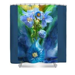 Blue Poppies In Poppy Vase Shower Curtain by Carol Cavalaris