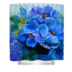 Blue Poppies Shower Curtain
