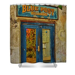 Blue Post Billiards Shower Curtain by Bob Sample
