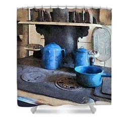 Blue Pots On Stove Shower Curtain by Susan Savad