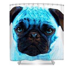 Blue - Pug Pop Art By Sharon Cummings Shower Curtain by Sharon Cummings