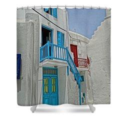 Blue Railing With Stairway In Mykonos Greece Shower Curtain by M Bleichner