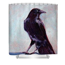 Blue Raven Shower Curtain by Nancy Merkle